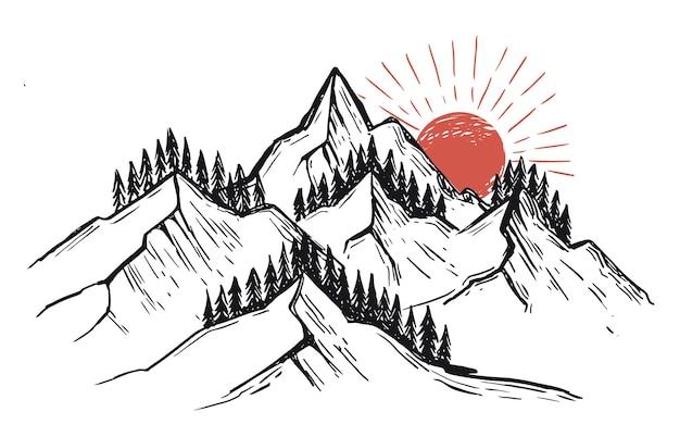Style de croquis d'illustration de paysage de montagne dessinés à la main