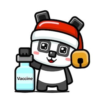 Style cube mignon panda de noël tenant une bouteille de vaccin