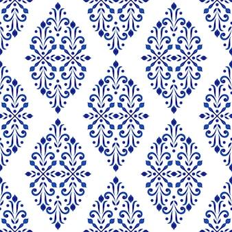 Style damassé de motif floral bleu et blanc décoratif, décor de papier peint
