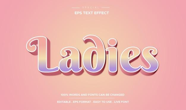 Style de dames à effet de texte modifiable