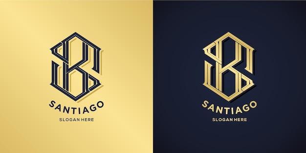 Style décoratif de logo lettre s et b
