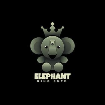 Style de dégradé d'éléphant de logo.