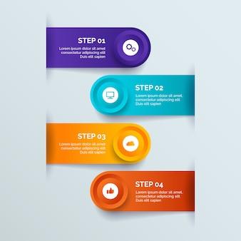 Style de dégradé des étapes d'infographie