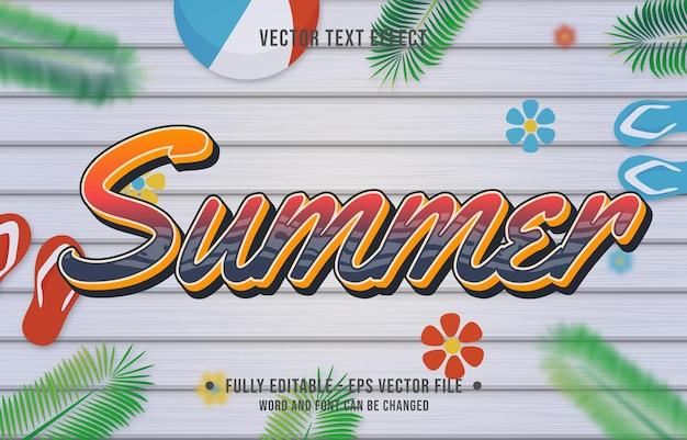 Style de dégradé d'été à effet de texte avec fond de thème de saison estivale