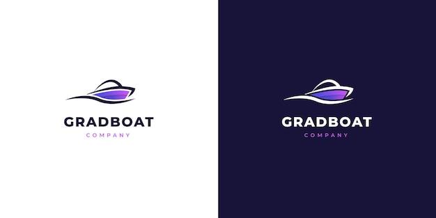 Style de dégradé de logo de bateau moderne