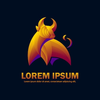 Style dégradé moderne du logo bull adapté à une société d'investissement ou à un produit de luxe