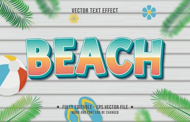 Style de dégradé de plage à effet de texte avec fond de thème de saison estivale