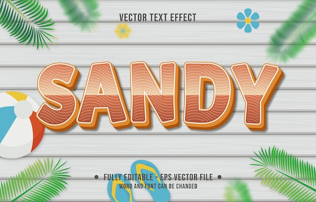 Style de dégradé de sable à effet de texte avec fond de thème de saison estivale