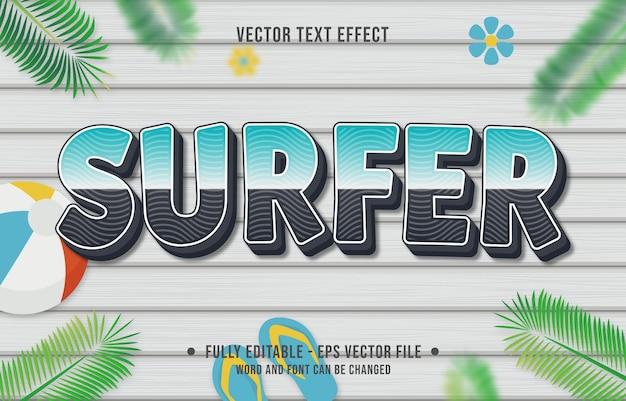 Style de dégradé de surfeur à effet de texte avec fond de thème de saison estivale