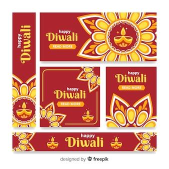 Style de design plat de bannières web diwali