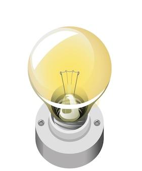 Style de dessin animé d'ampoule isolé sur fond blanc