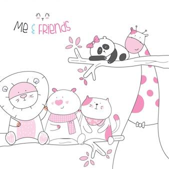Style de dessin animé animaux personnage mignon