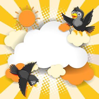 Style de dessin animé comique bannière fantaisie oiseau