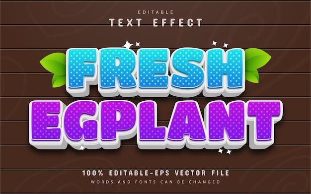 Style de dessin animé d'effet de texte d'aubergine fraîche