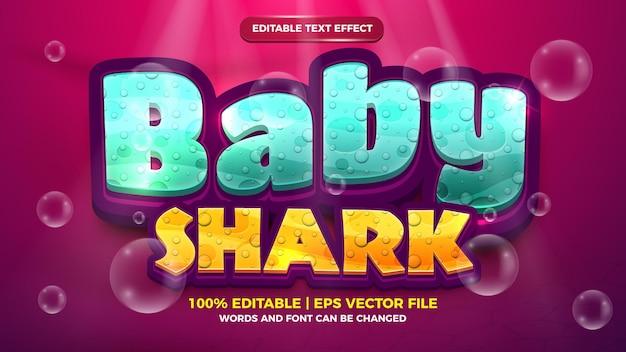 Style de dessin animé effet de texte modifiable bébé requin 3d
