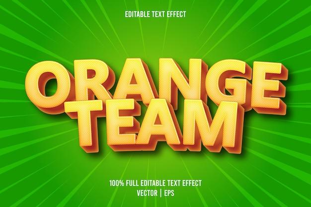 Style de dessin animé d'effet de texte modifiable de l'équipe orange