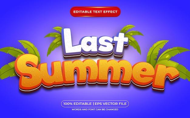 Style de dessin animé d'effet de texte modifiable de l'été dernier