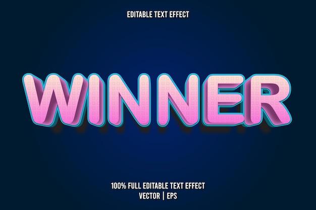 Style de dessin animé d'effet de texte modifiable gagnant