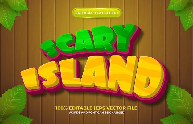 Style de dessin animé d'effet de texte modifiable d'île effrayante