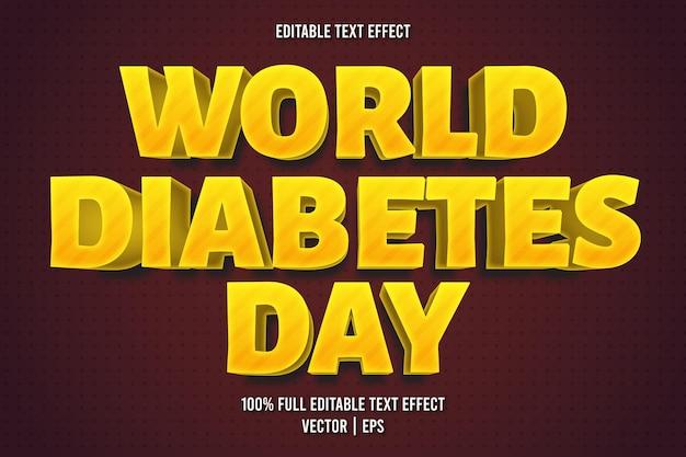 Style de dessin animé d'effet de texte modifiable de la journée mondiale du diabète