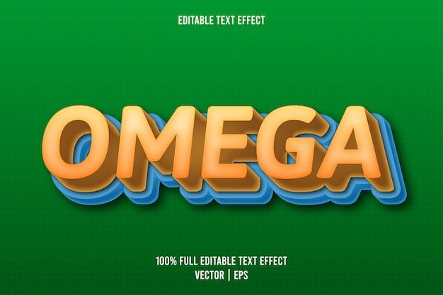 Style de dessin animé d'effet de texte modifiable omega