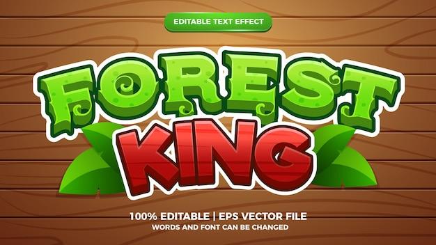 Style de dessin animé effet de texte modifiable roi de la forêt