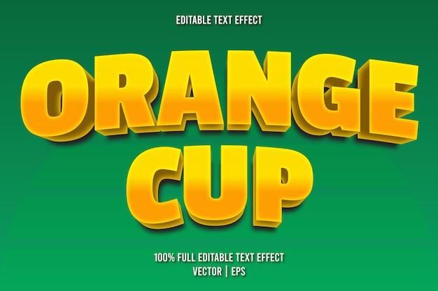Style de dessin animé d'effet de texte modifiable de tasse orange