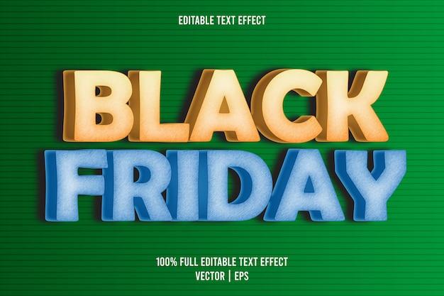 Style de dessin animé effet de texte modifiable vendredi noir