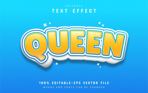 Style de dessin animé effet texte reine
