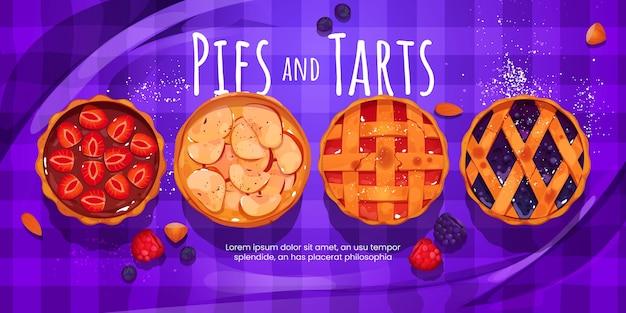 Style de dessin animé de fond de tartes et tartes