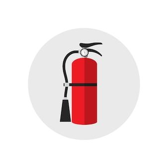 Style de dessin animé d'icône d'extincteur. icône de matériel de feu silhouette unique. style plat