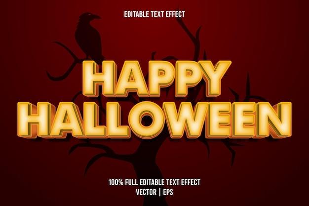 Style de dessin animé joyeux halloween effet de texte modifiable
