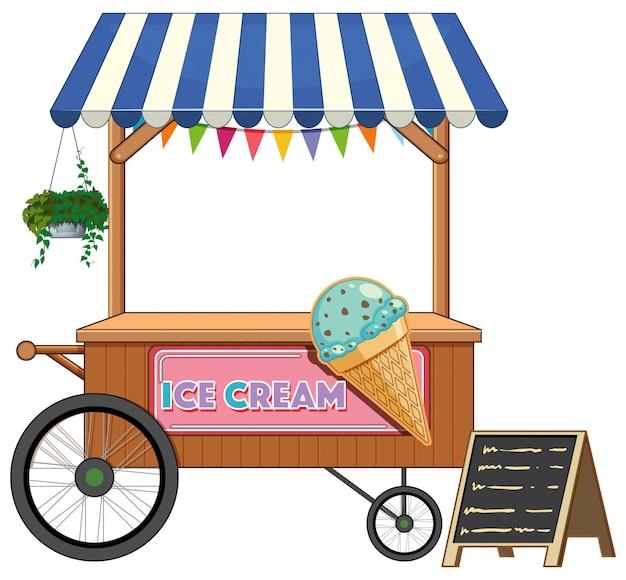 Style de dessin animé de magasin de chariot de crème glacée isolé