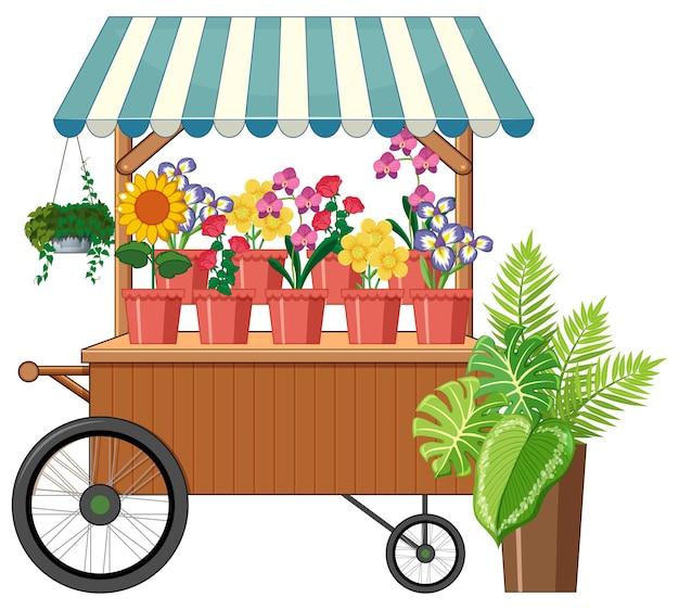 Style de dessin animé de magasin de chariot de fleur isolé