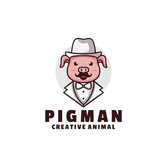 Style de dessin animé de mascotte de cochon logo.