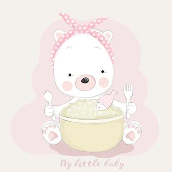 Style de dessin animé mignon bébé ourson dessinés à la main