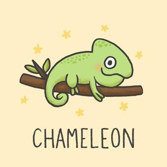 Style de dessin animé mignon caméléon dessiné à la main