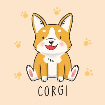 Style de dessin animé mignon chien corgi dessinés à la main