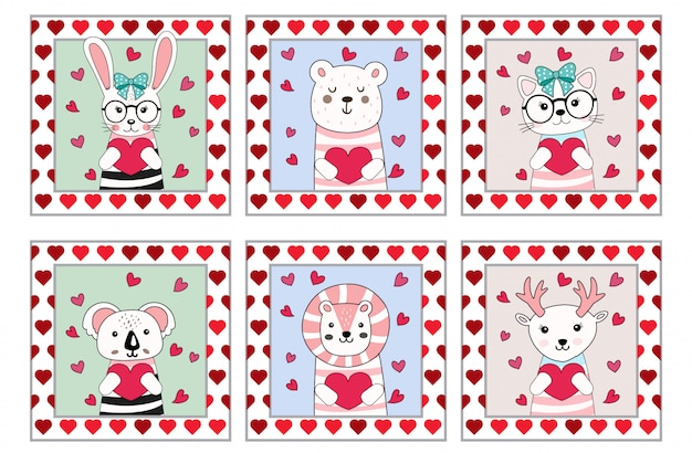 Style de dessin animé mignon dessin animé animaux saint valentin