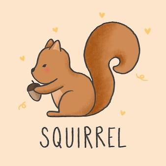 Style de dessin animé mignon écureuil dessinés à la main