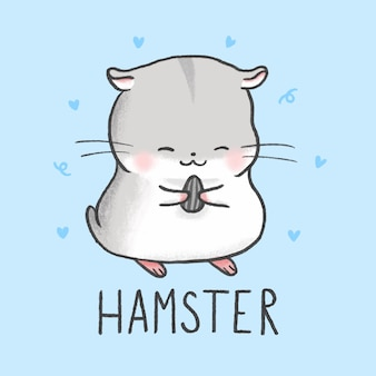 Style de dessin animé mignon hamster dessinés à la main