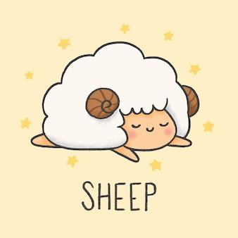Style de dessin animé mignon mouton dessiné à la main
