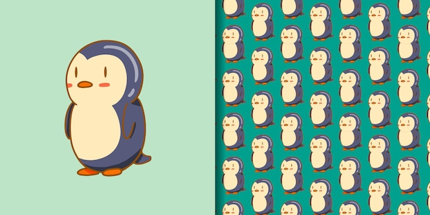 Style de dessin animé mignon pingouin dessiné à la main