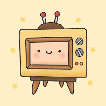 Style de dessin animé mignon rétro télévision bande dessinée à la main