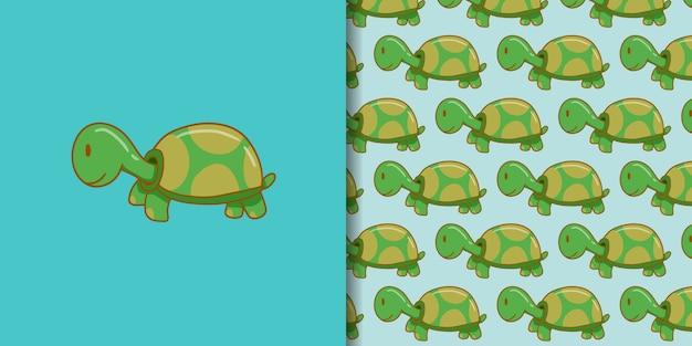 Style de dessin animé mignon tortue dessiné à la main