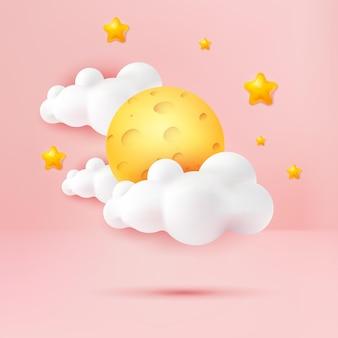 Style de dessin animé de nuage jaune et mignon de fromage de lune 3d sur fond de scène pastel rose