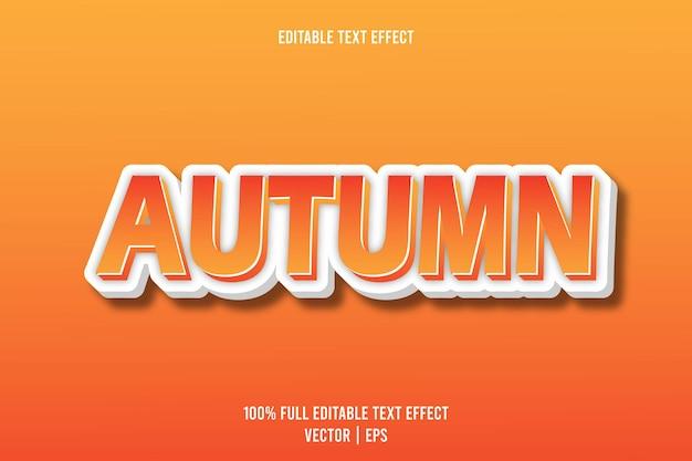 Style de dessin animé en relief effet de texte modifiable d'automne