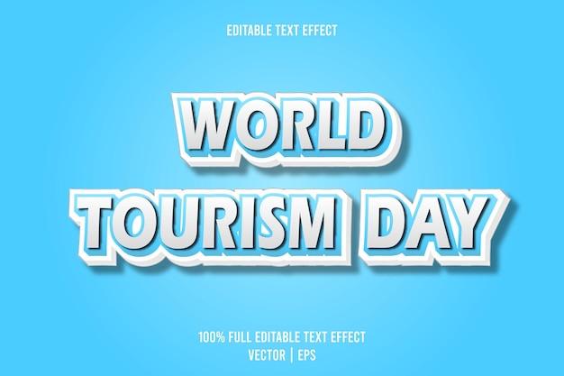 Style de dessin animé en relief à effet de texte modifiable pour la journée mondiale du tourisme