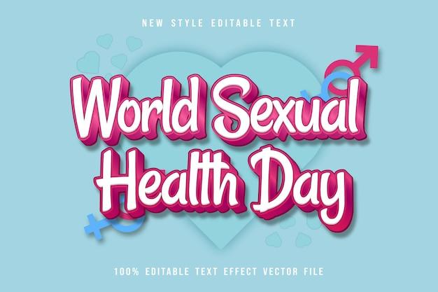 Style de dessin animé en relief à effet de texte modifiable pour la journée mondiale de la santé sexuelle