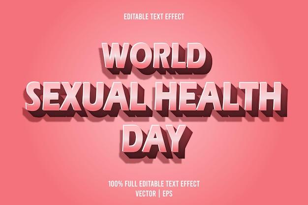 Style de dessin animé en relief avec effet de texte modifiable pour la journée mondiale de la sexualité